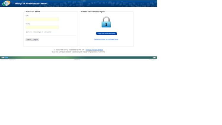 Interface portal de Serviços INSS DIGITAL