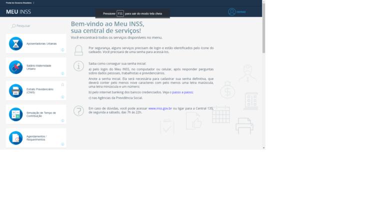 Interface portal MEU INSS