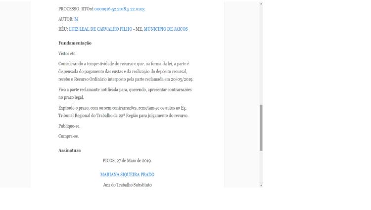 Publicação da apresentação de Recurso Orindário