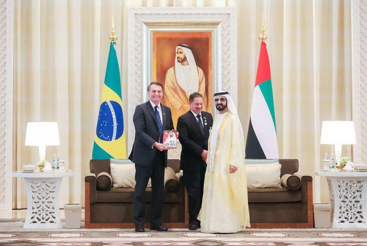 (Abu Dhabi - EAU, 27/10/2019) Presidente da República, Jair Bolsonaro, durante encontro com Sua Alteza Xeque Mohamed bin Rashed Al Maktoum, Vice-Presidente, Primeiro-Ministro dos EAU e Governante de Dubai.nFoto: Clauber Cleber Caetano/PR