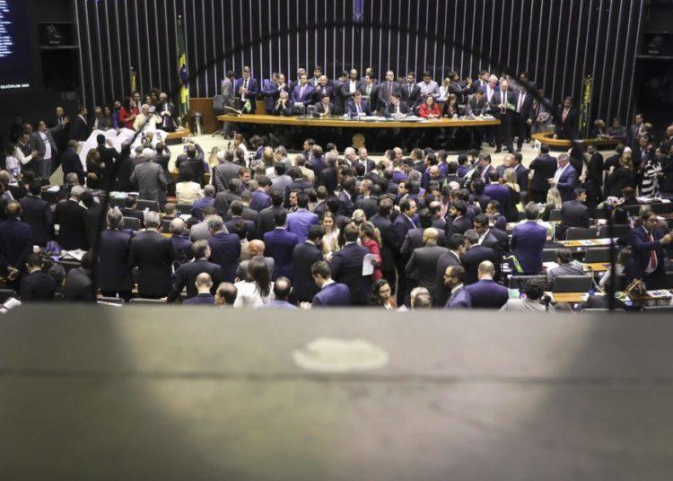 Deputado Rodrigo Maia discursa no plenário da  Câmara dos Deputados durante o processo de votação da reforma da previdência. Brasilia, 10-07-2019. Foto: Sérgio Lima/PODER 360