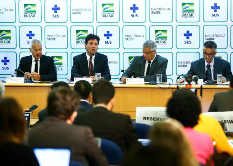 Brasília: O ministro da Saúde, Luiz Henrique Mandetta, durante entrevista coletiva para atualizar o boletim sobre o novo coronavírus da China. (Foto: Marcelo Camargo/Agência Brasil)