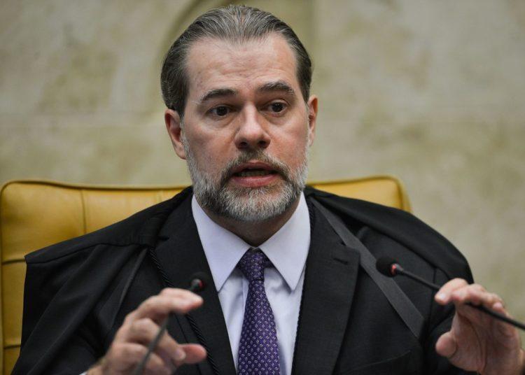 O presidente do STF, ministro Dias Toffoli, durante sessão que retoma julgamento sobre o compartilhamento de dados bancários e fiscais.