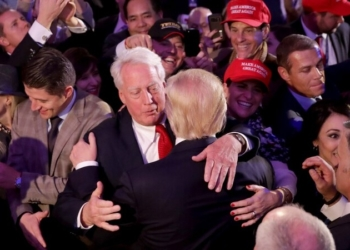 NEW YORK, NY - NOVEMBER 09: Republican president-elect Donald Trump hugs his brother Robert Trump after delivering his acceptance speech at the New York Hilton Midtown in the early morning hours of November 9, 2016 in New York City. Donald Trump defeated Democratic presidential nominee Hillary Clinton to become the 45th president of the United States.   Chip Somodevilla/Getty Images/AFP