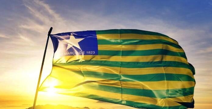 Piaui state of Brazil  flag on flagpole textile cloth fabric waving on the top sunrise mist fog