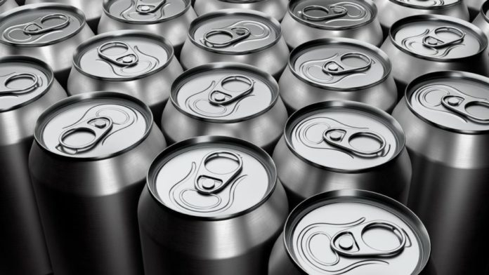 Group of silver recyclable aluminum energy drink cans from above close up full frame. 3D rendering mockup of alcohol drink can.
