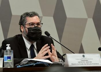Ernesto Araújo em audiência no Senado, em setembro do ano passado Edilson Rodrigues/Agência Senado  Fonte: Agência Senado