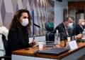 A médica Luana Araújo, o presidente da CPI, Omar Aziz, e o relator, Renan Calheiros Waldemir Barreto/Agência Senado  Fonte: Agência Senado