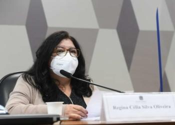 Regina Célia Silva Oliveira, servidora do Ministério da Saúde em depoimento à CPI da Covid Foto: Agência Senado