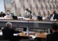 William Santana, o vice-presidente, Randolfe Rodrigues, e o relator da CPI da Pandemia, Renan Calheiros  Foto: Edilson Rodrigues/Agência Senado  Fonte: Agência Senado.