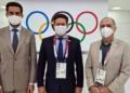 Na chegada à capital japonesa, o ministro João Roma (C) foi recepcionado pelo embaixador do Brasil no Japão, Eduardo Saboia (E), e pelo presidente do Comitê Olímpico do Brasil, Paulo Wanderley. Foto: Germano Bona/Min. Cidadania
