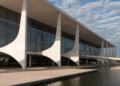 Brasilia, Brazil - June 3, 2015: Planalto Palace, a residence of the president of Brazil. It was designed by Oscar Niemeyer and completed in 1960.