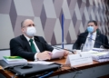 Aras é sabatinado ao lado do presidente da CCJ, Davi Alcolumbre Pedro França/Agência Senado  Fonte: Agência Senado