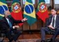 O Presidente da República de Portugal, Marcelo Rebelo de Sousa conversa com o Presidente da República do Brasil, Jair Bolsonaro durante o encontro no Palácio da Alvorada, em Brasília.© RUI OCHÔA/ PRESIDÊNCIA DA REPÚBLICA/ LUSA