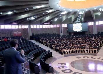 Conclusão do 1º Curso de Formação da Polícia Judicial. Na tribuna, o conselheiro do CNJ Mário Guerreiro. FOTO: Luiz Silveira/Agência CNJ