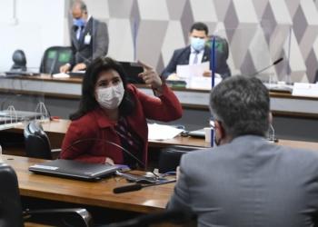 A relatora da PEC da reforma eleitoral, Simone Tebet, na reunião da CCJ nesta quarta  Foto: Roque de Sá/Agência Senado  Fonte: Agência Senado